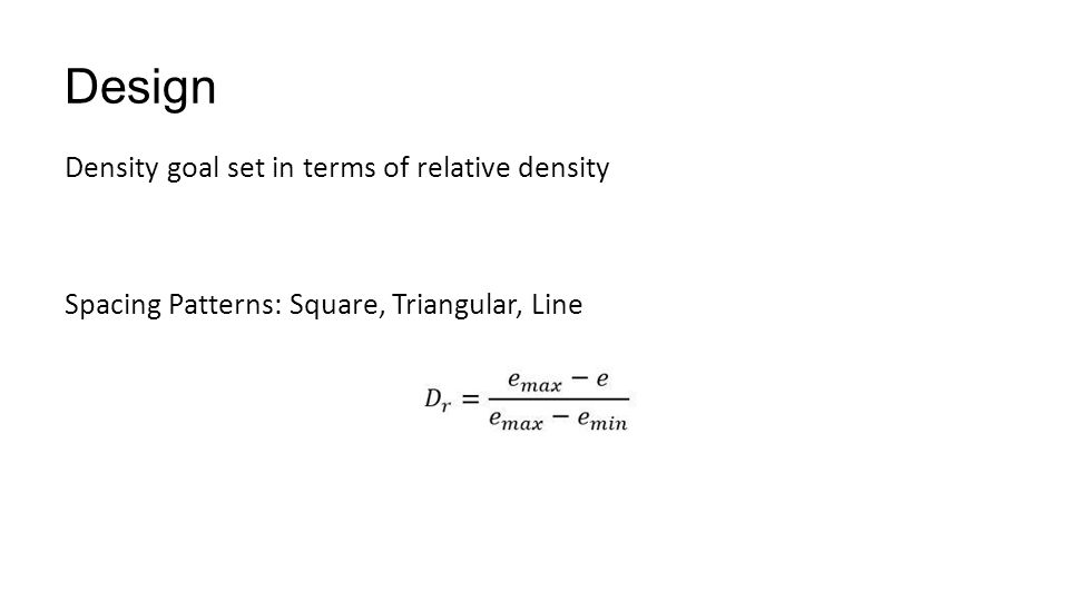 Design Density goal set in terms of relative density