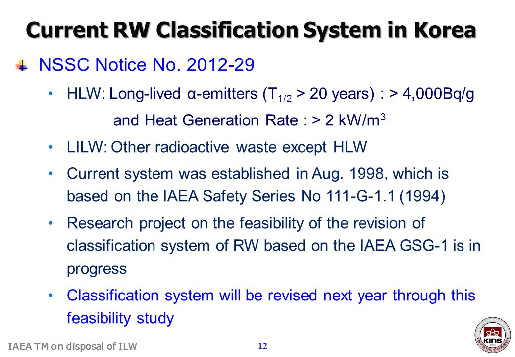 Current RW Classification System in Korea