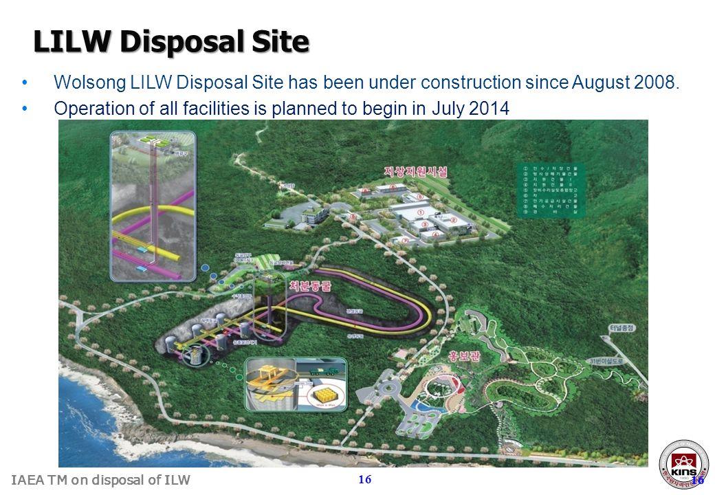LILW Disposal Site Wolsong LILW Disposal Site has been under construction since August 2008.