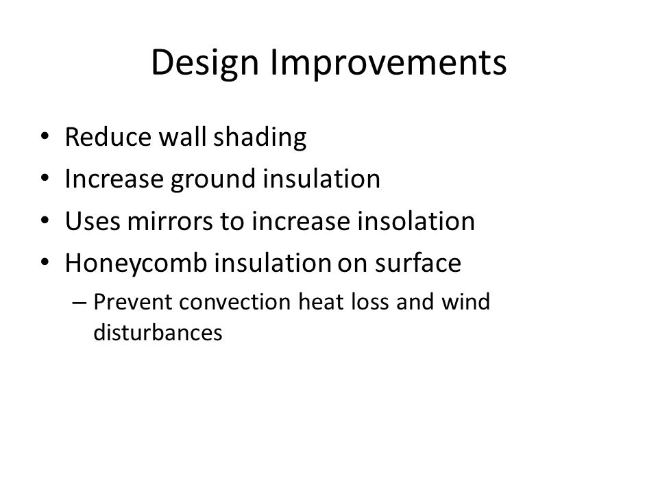 Design Improvements Reduce wall shading Increase ground insulation