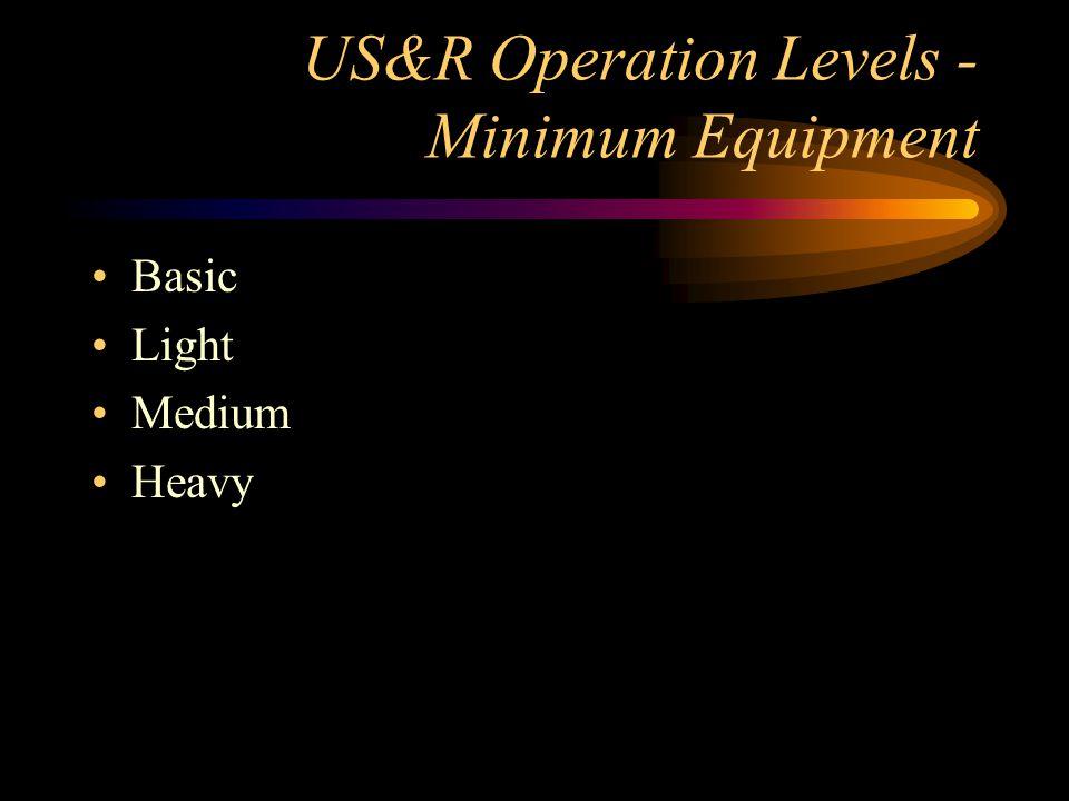 US&R Operation Levels - Minimum Equipment