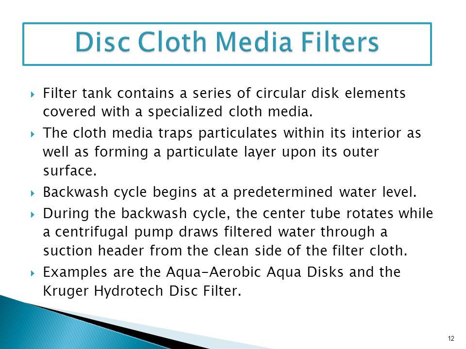 Disc Cloth Media Filters
