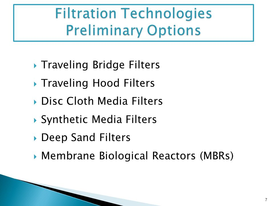 Filtration Technologies Preliminary Options