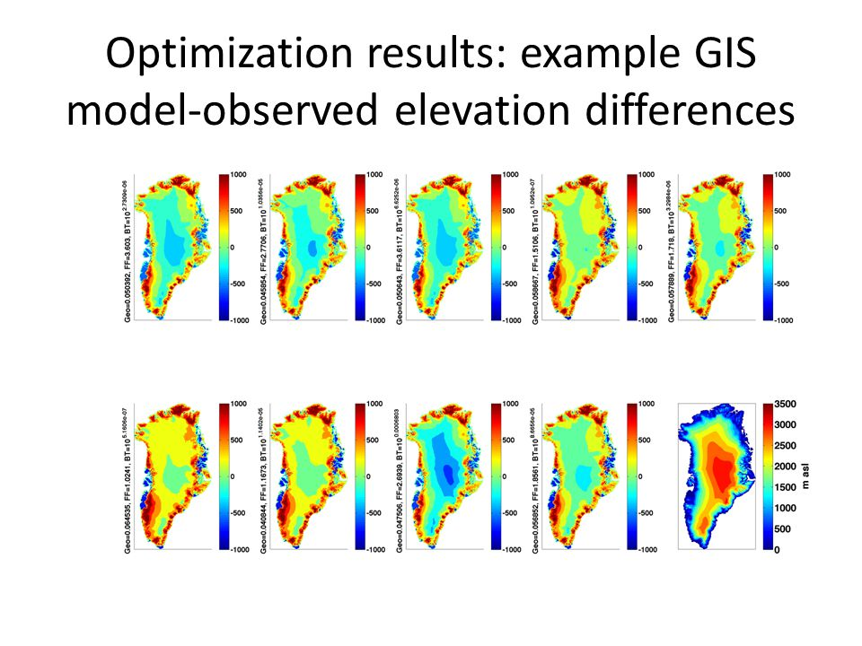 Optimization results: example GIS model-observed elevation differences