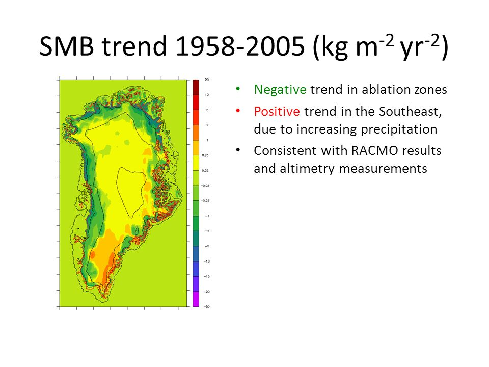 SMB trend 1958-2005 (kg m-2 yr-2) Negative trend in ablation zones