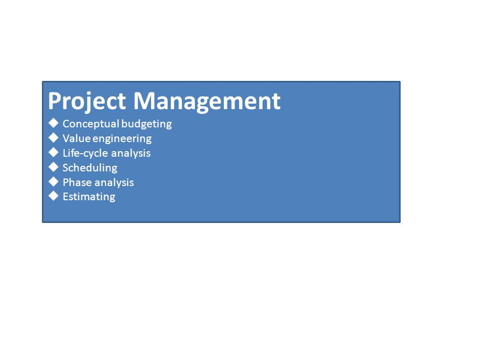 Project Management Conceptual budgeting Value engineering