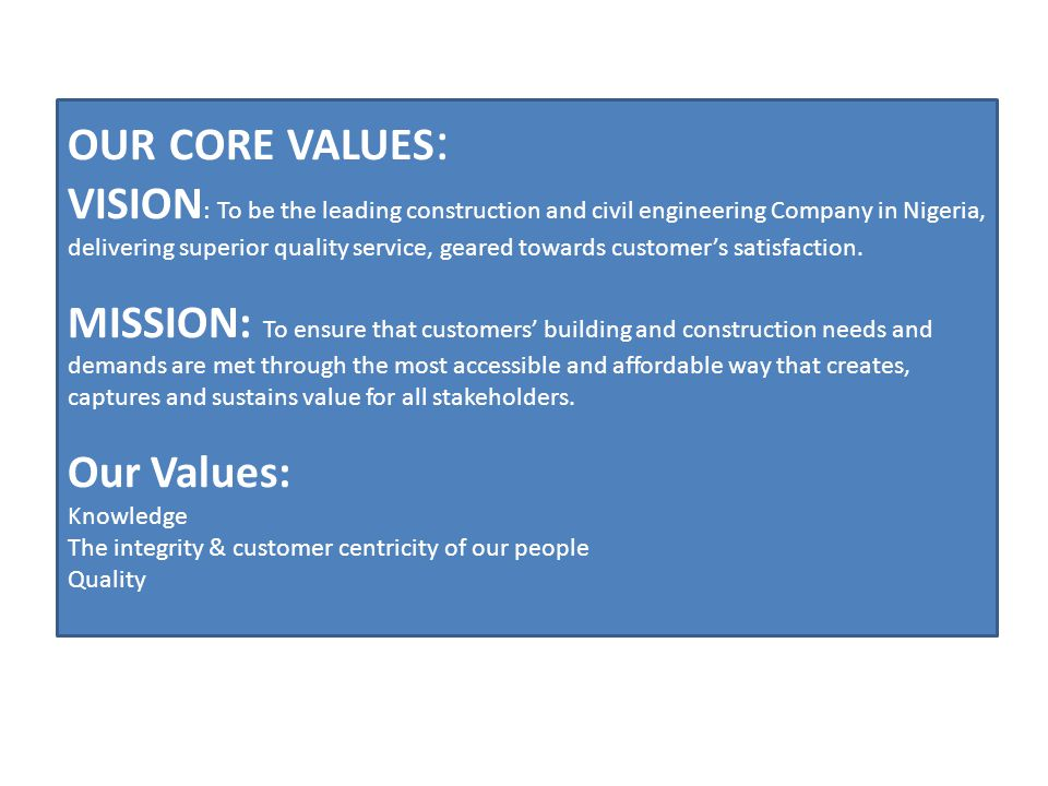 our core values: