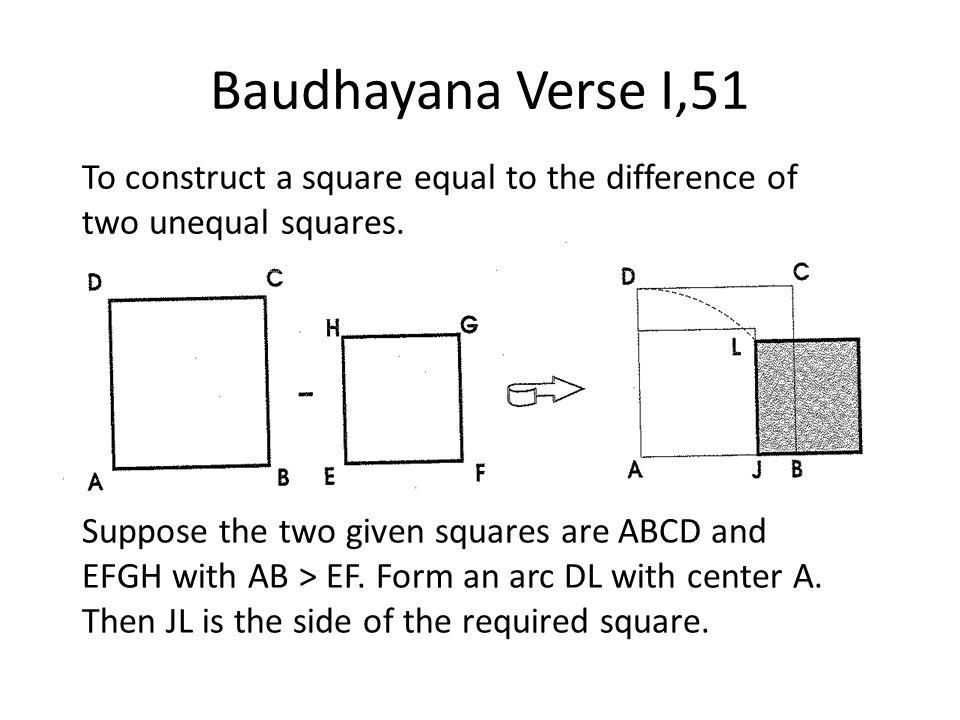 Baudhayana Verse I,51 To construct a square equal to the difference of two unequal squares.