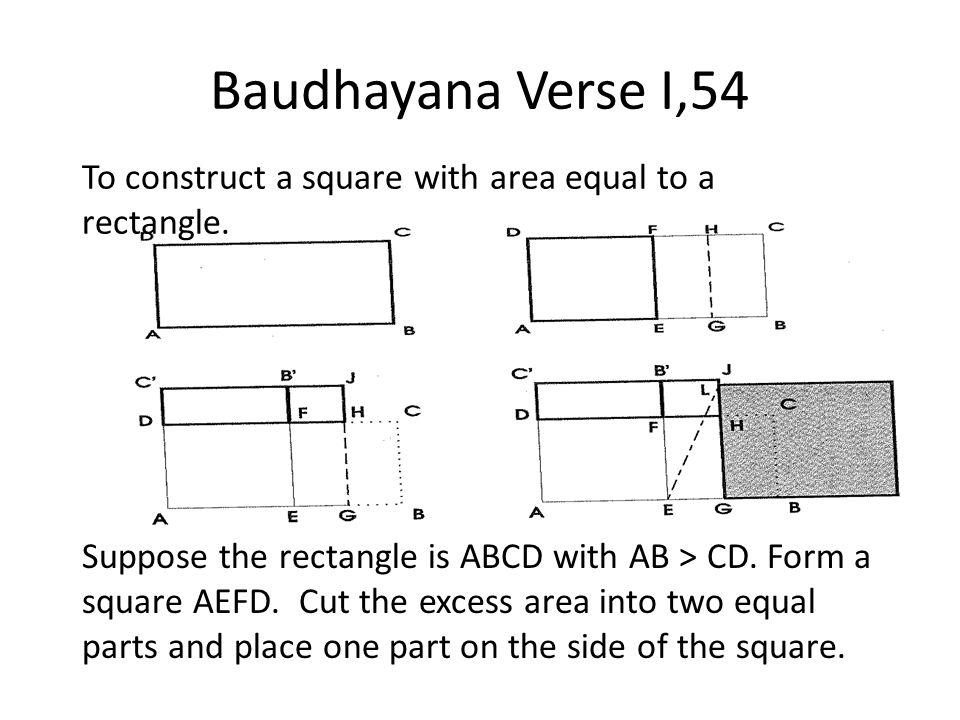 Baudhayana Verse I,54 To construct a square with area equal to a rectangle.