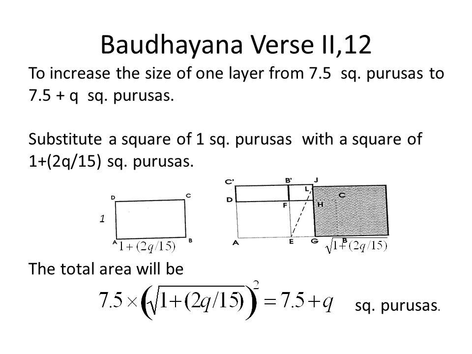 Baudhayana Verse II,12 To increase the size of one layer from 7.5 sq. purusas to 7.5 + q sq. purusas.
