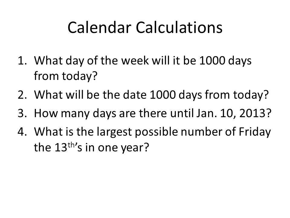 Calendar Calculations