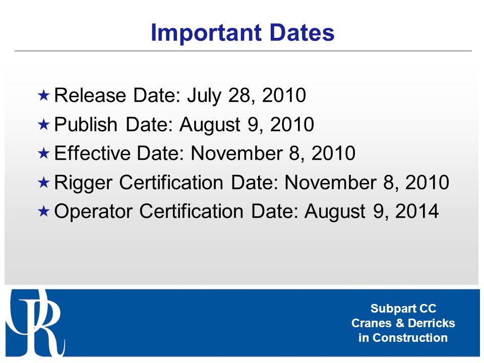 Important Dates Release Date: July 28, 2010