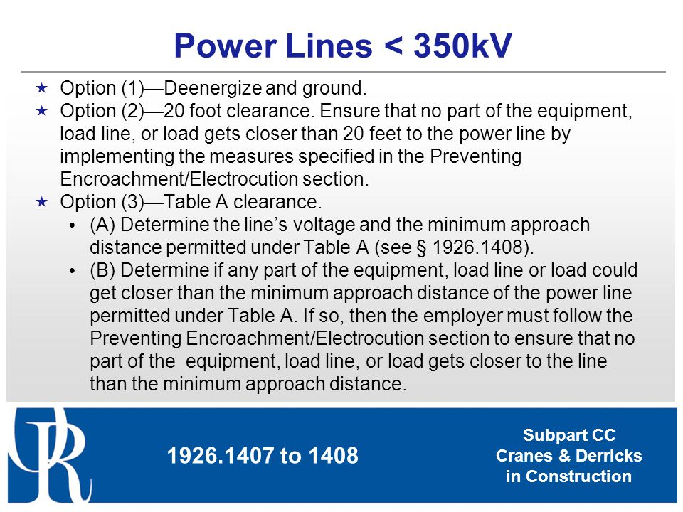 Power Lines < 350kV Option (1)—Deenergize and ground.
