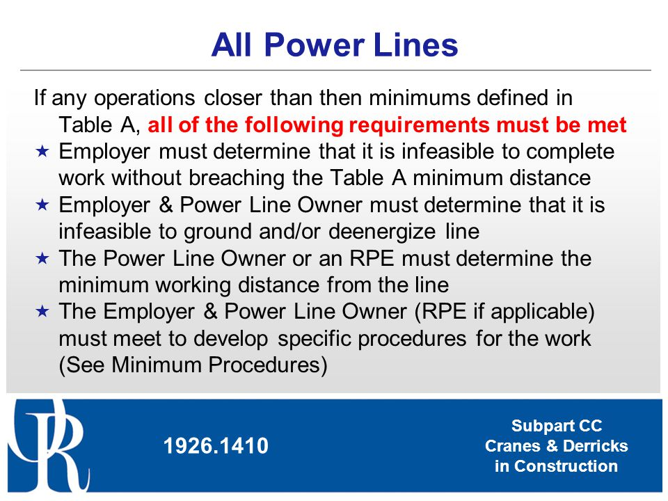 All Power Lines If any operations closer than then minimums defined in Table A, all of the following requirements must be met.
