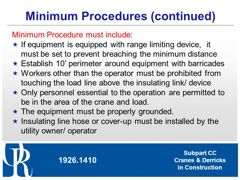 Minimum Procedures (continued)