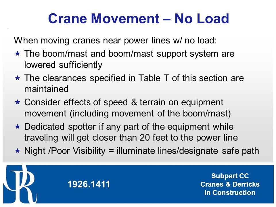 Crane Movement – No Load
