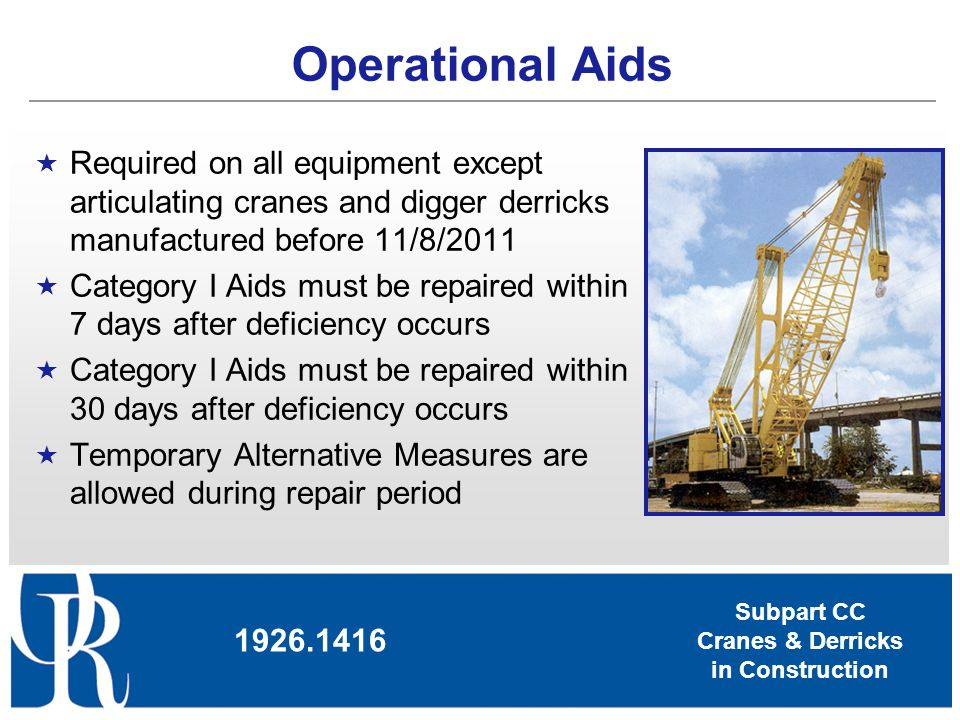 Operational Aids Required on all equipment except articulating cranes and digger derricks manufactured before 11/8/2011.