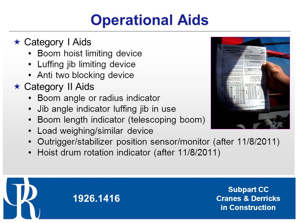 Operational Aids Category I Aids Category II Aids 1926.1416