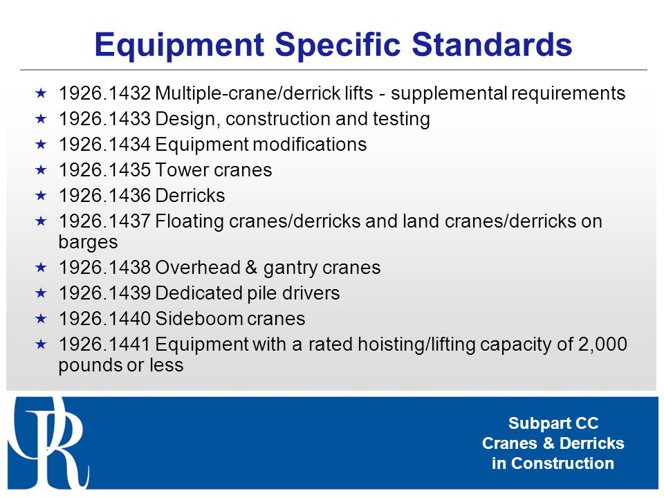 Equipment Specific Standards
