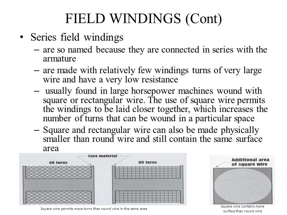 FIELD WINDINGS (Cont) Series field windings