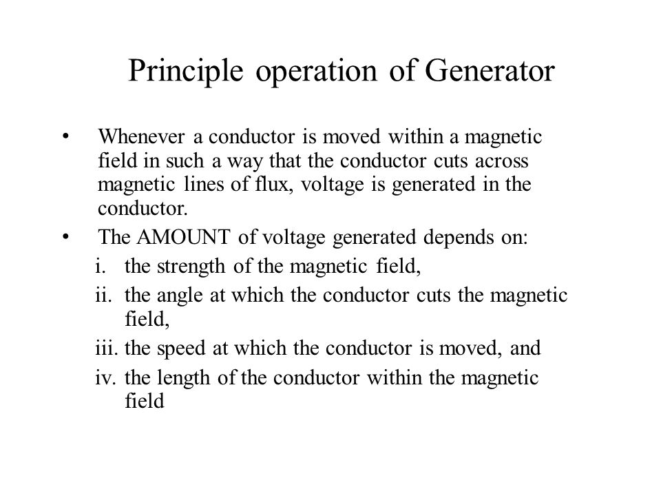 Principle operation of Generator
