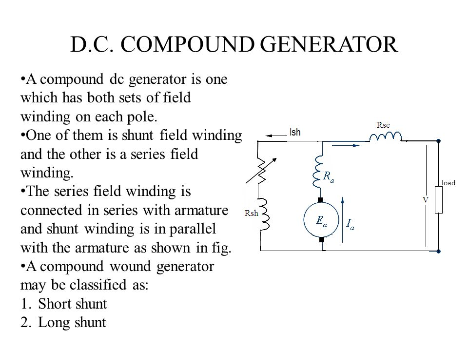 D.C. COMPOUND GENERATOR A compound dc generator is one which has both sets of field winding on each pole.
