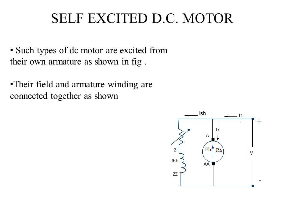SELF EXCITED D.C. MOTOR Such types of dc motor are excited from their own armature as shown in fig .