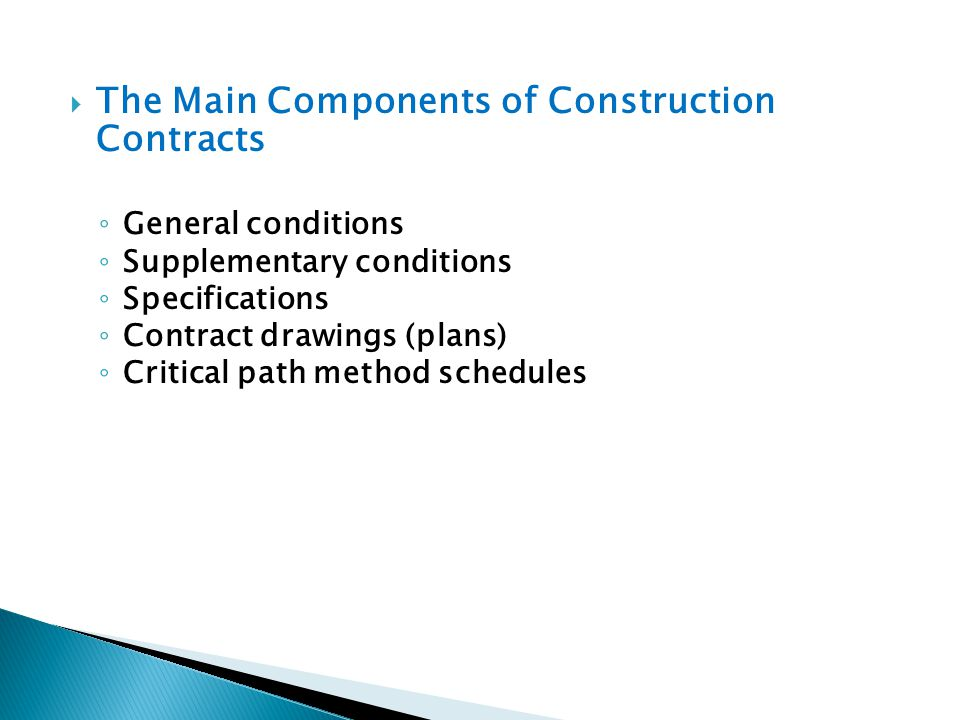 The Main Components of Construction Contracts