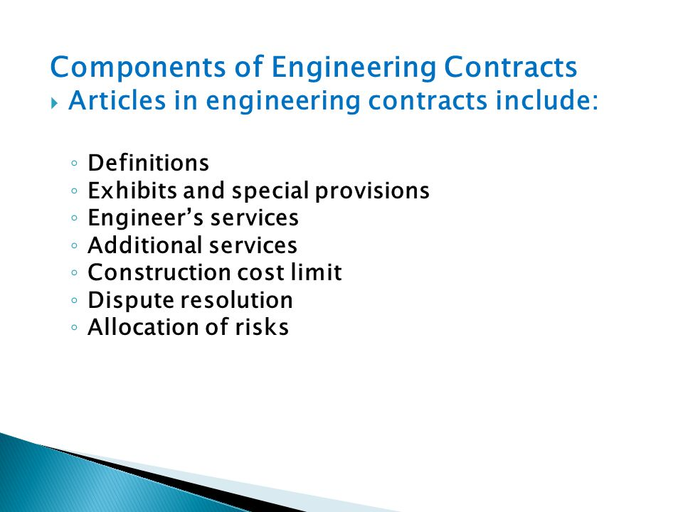 Components of Engineering Contracts