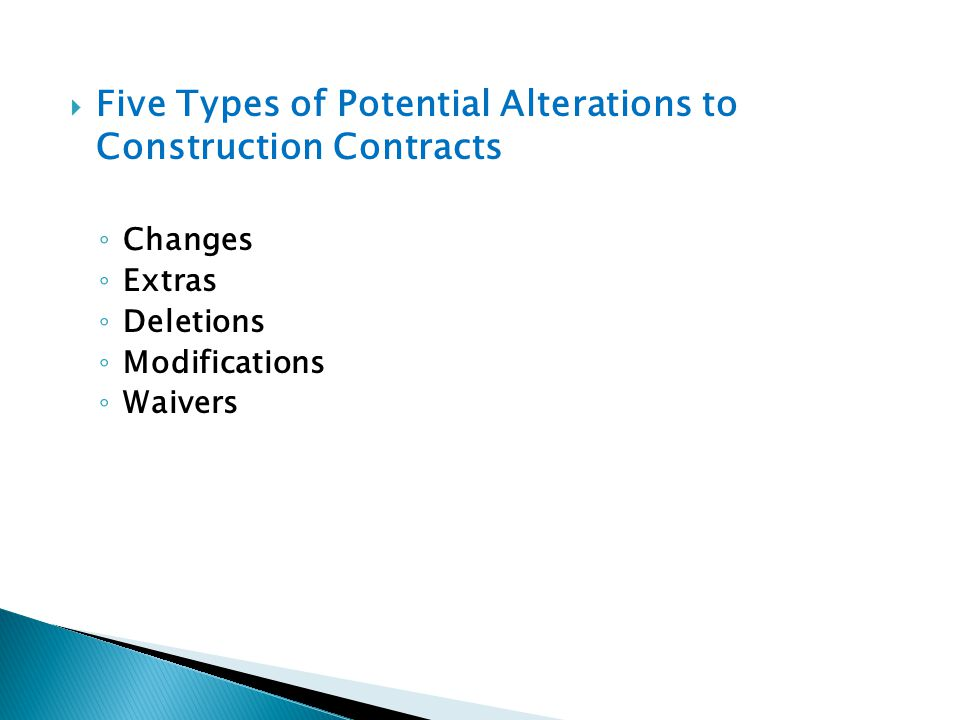 Five Types of Potential Alterations to Construction Contracts