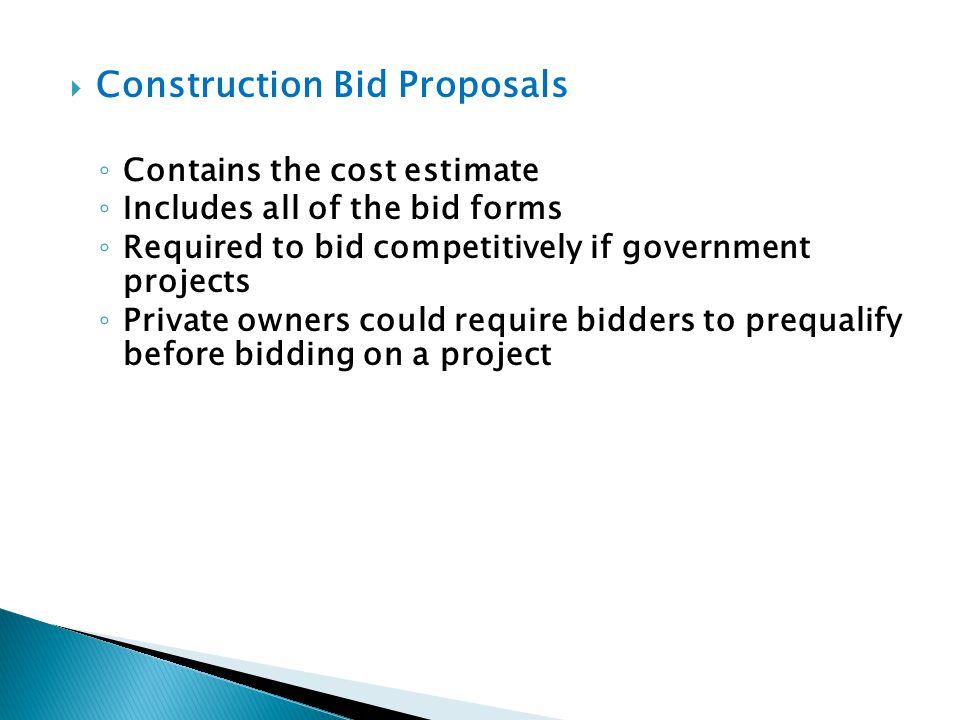 Construction Bid Proposals