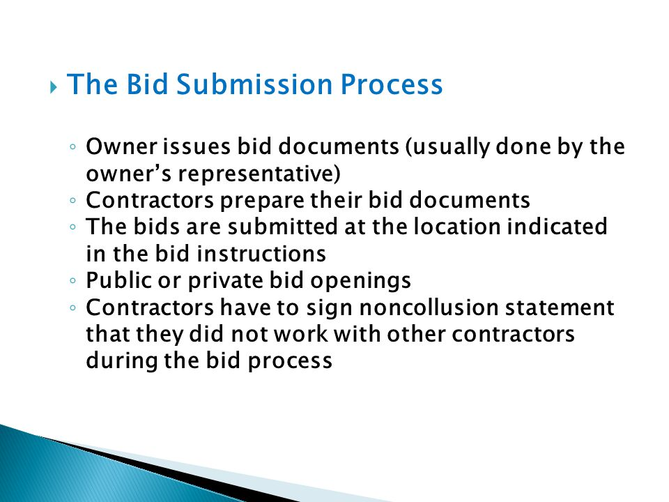 The Bid Submission Process
