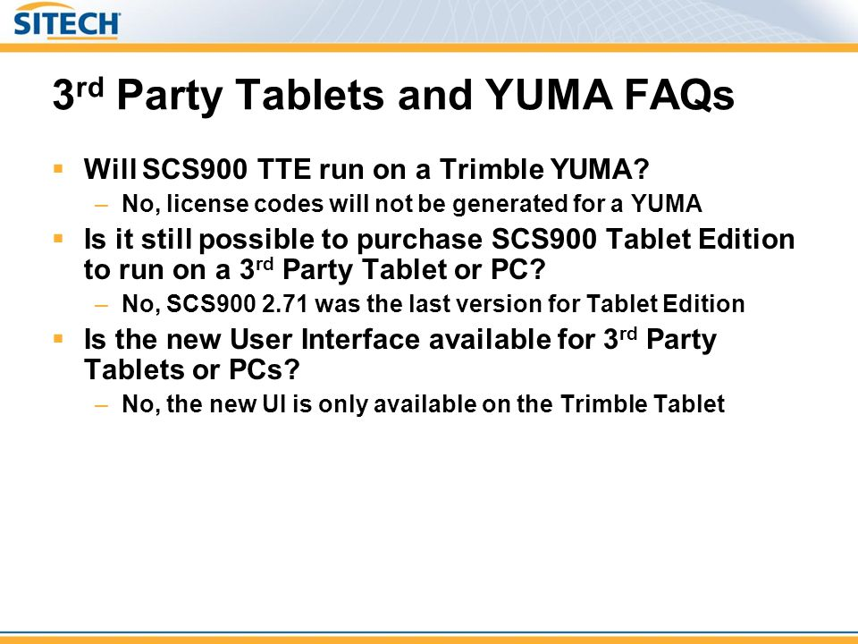 3rd Party Tablets and YUMA FAQs