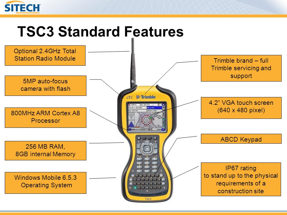 TSC3 Standard Features Optional 2.4GHz Total Station Radio Module
