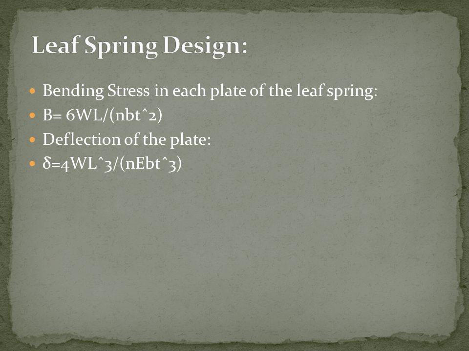 Leaf Spring Design: Bending Stress in each plate of the leaf spring:
