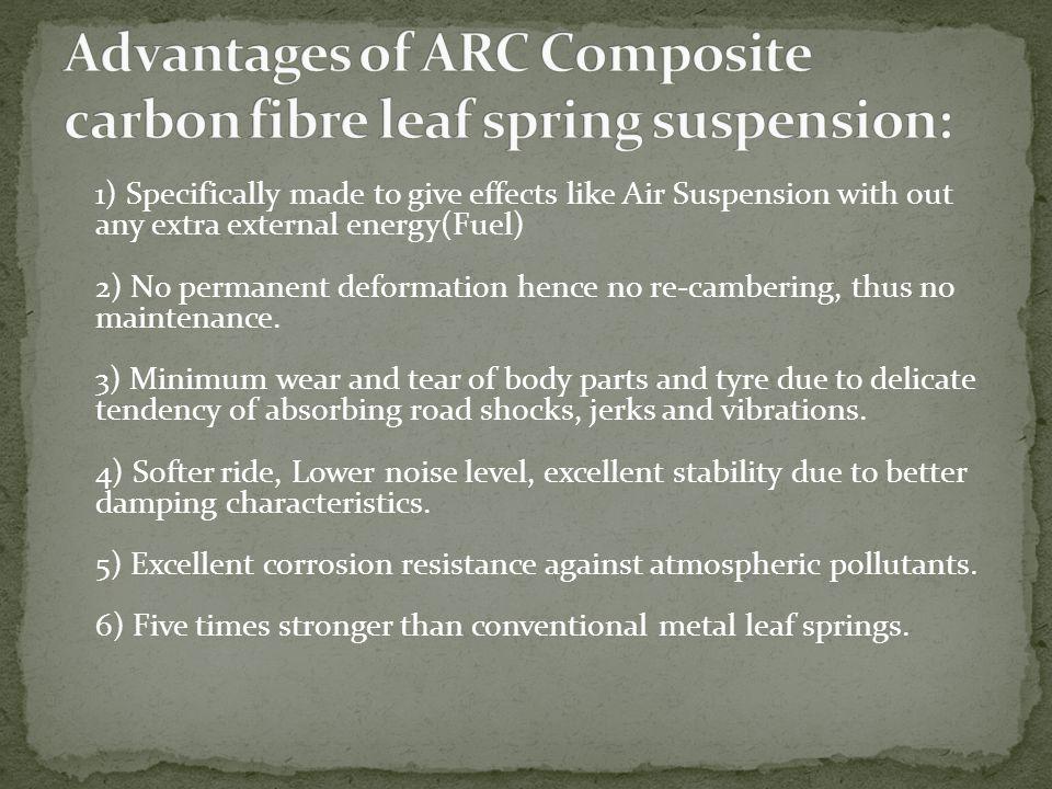 Advantages of ARC Composite carbon fibre leaf spring suspension: