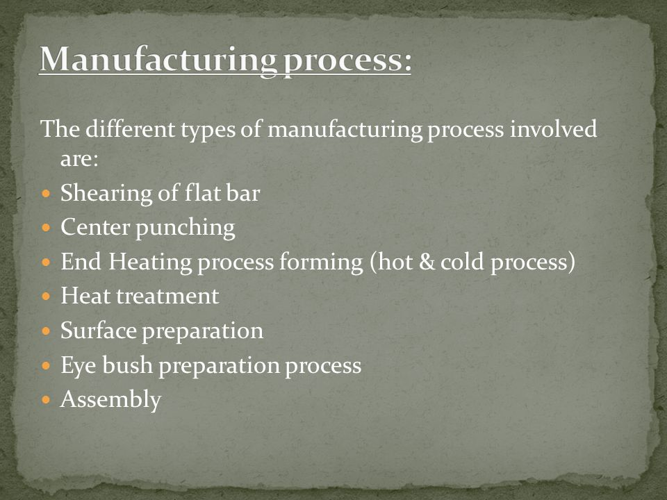 Manufacturing process:
