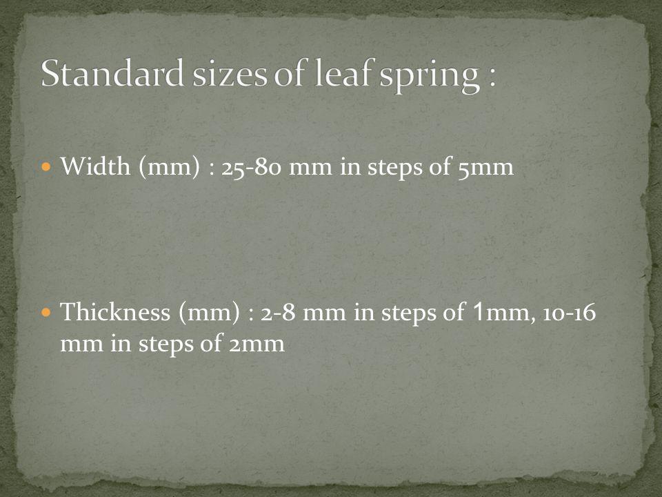 Standard sizes of leaf spring :