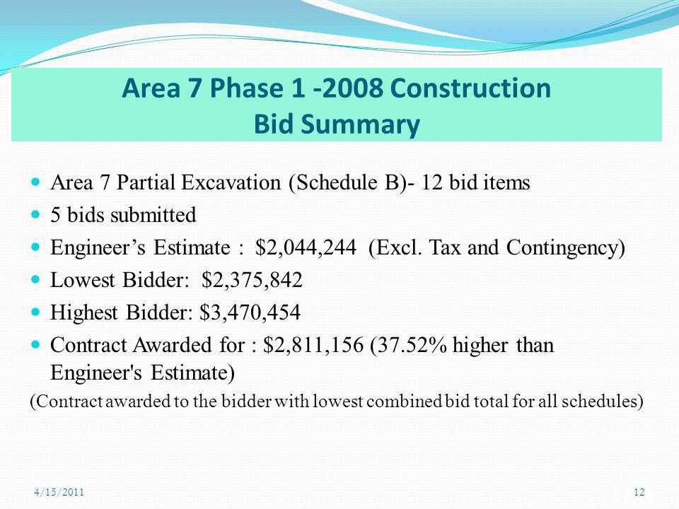 Area 7 Phase 1 -2008 Construction Bid Summary
