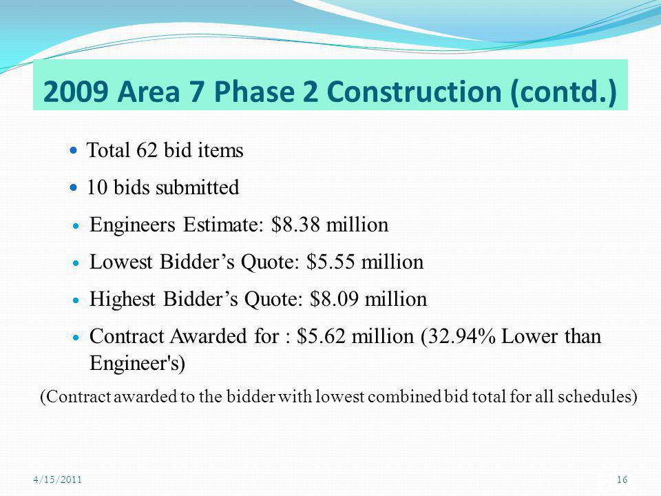 2009 Area 7 Phase 2 Construction (contd.)