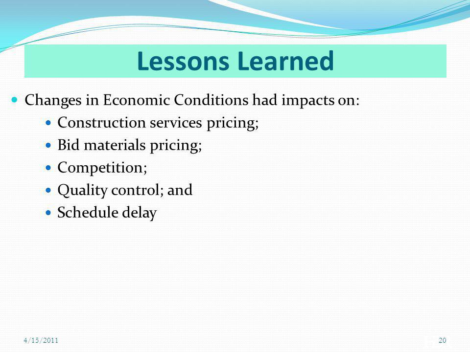 Lessons Learned Changes in Economic Conditions had impacts on: