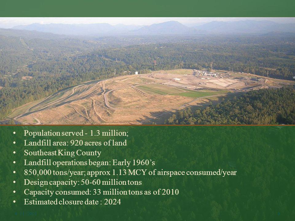 Population served - 1.3 million; Landfill area: 920 acres of land