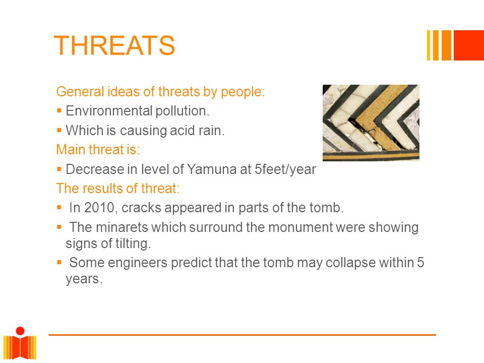 THREATS General ideas of threats by people: Environmental pollution.