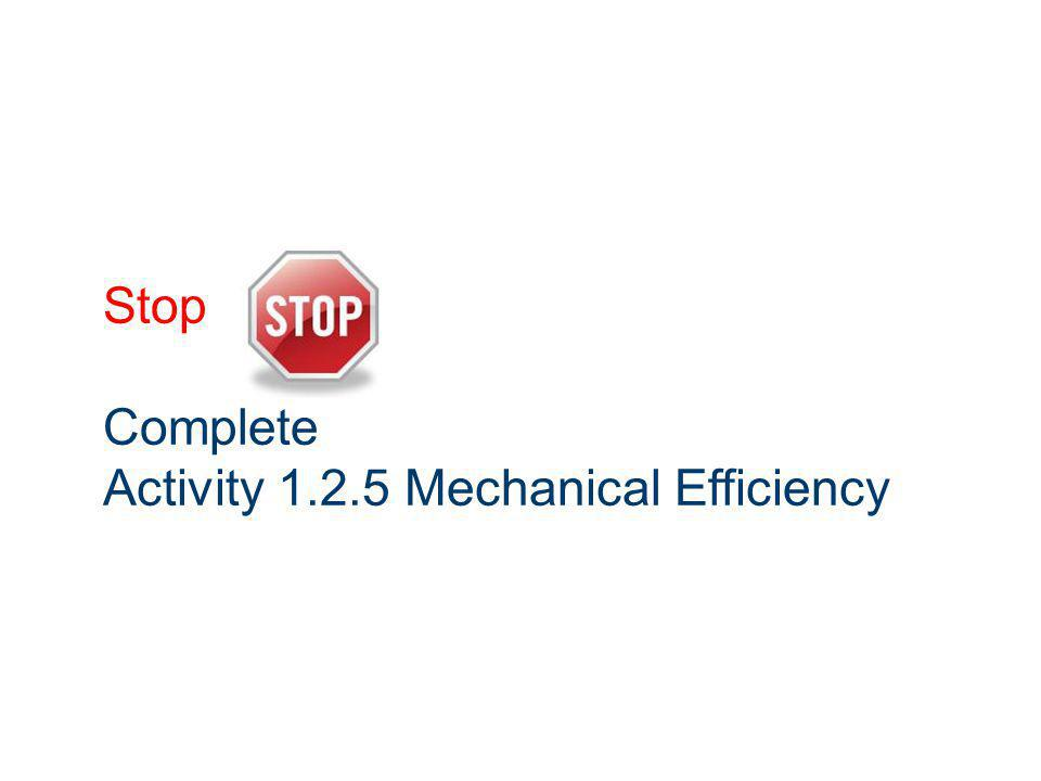 Stop Complete Activity 1.2.5 Mechanical Efficiency