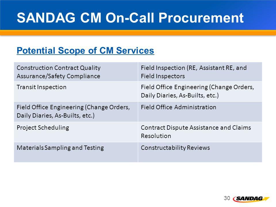 SANDAG CM On-Call Procurement