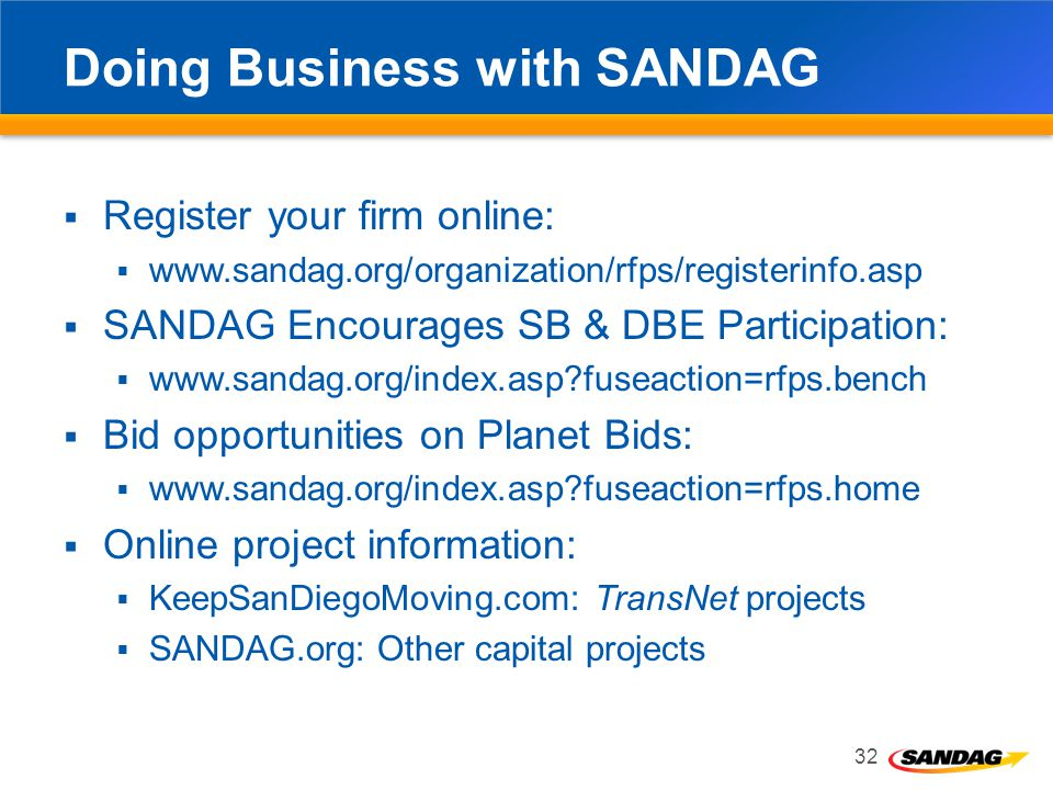 Doing Business with SANDAG