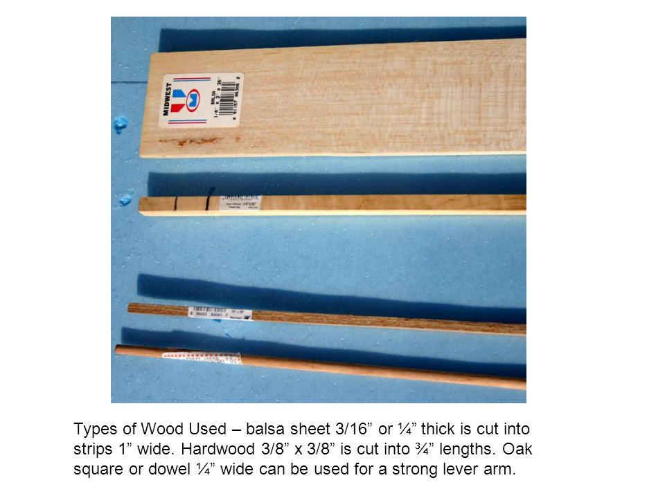Types of Wood Used – balsa sheet 3/16 or ¼ thick is cut into strips 1 wide.