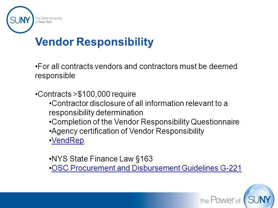 Vendor Responsibility