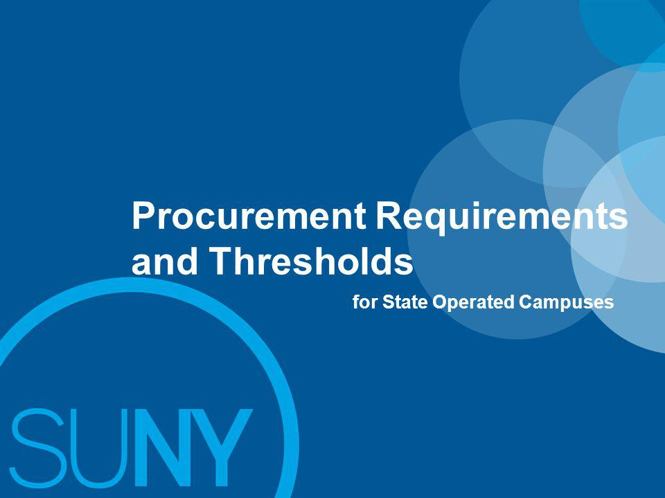 Procurement Requirements and Thresholds