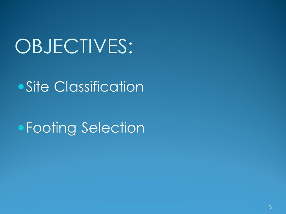 OBJECTIVES: Site Classification Footing Selection